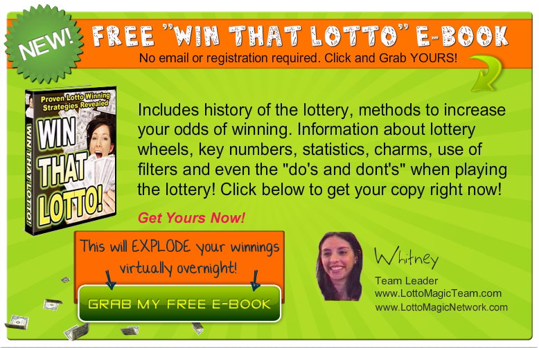 Free Lottery E-Book with lottery Information, lottery strategies, and lottery facts!